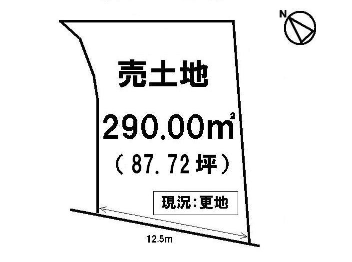 【区画図】 建築条件なし・土地約87坪・現況更地・前道約6.0m・治田小学校まで徒歩6分(約450m)