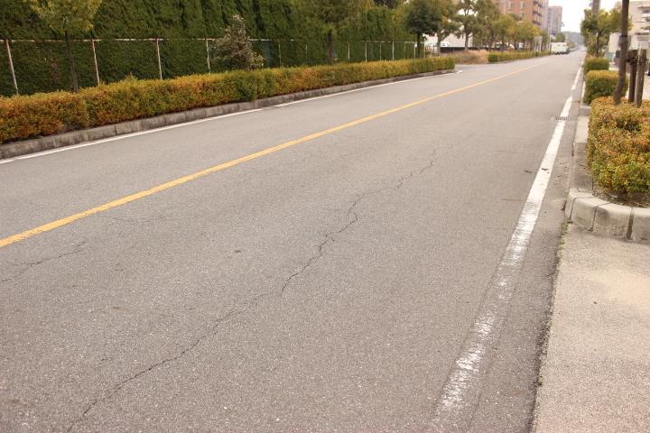 見晴らしの良い一本道 しっかり歩道も整備されています