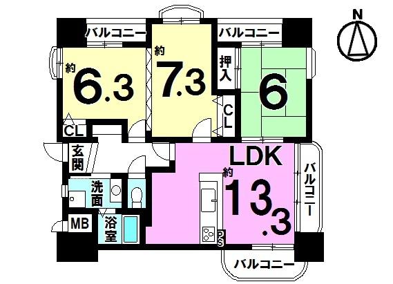 【間取り】 平成29年にキッチン・ユニットバス・洗面・トイレを新調済! 新しく生まれ変わった室内を是非ご覧下さい。 3面のバルコニーからさわやかな風が入る角部屋です。 家具・照明器具付きです。