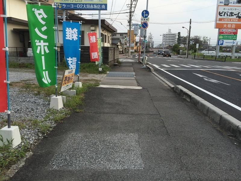 現地の西側にある歩道を北から南に向かって撮影