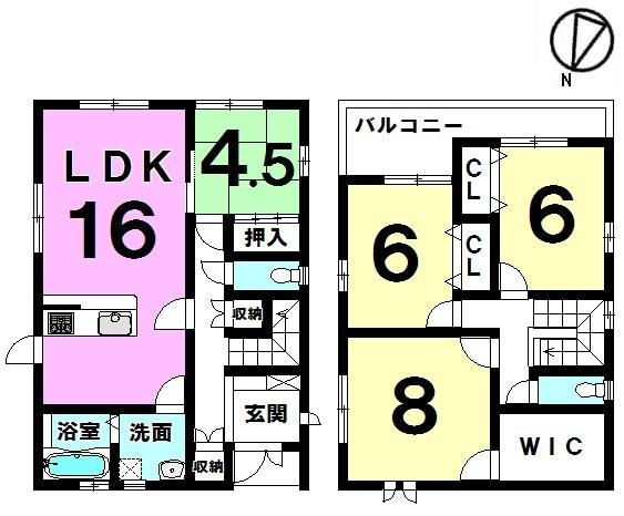 【間取り】 間取り図 3380万円  スーパーストロング構造を採用した4lDKの中古戸建