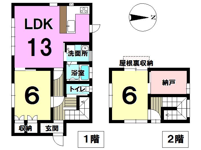 【間取り】 納戸や屋根裏収納によって、各居室をすっきりひろびろ使える間取りになっています。