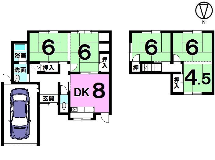 【間取り】 5DK 駐車1台可(シャッター車庫)