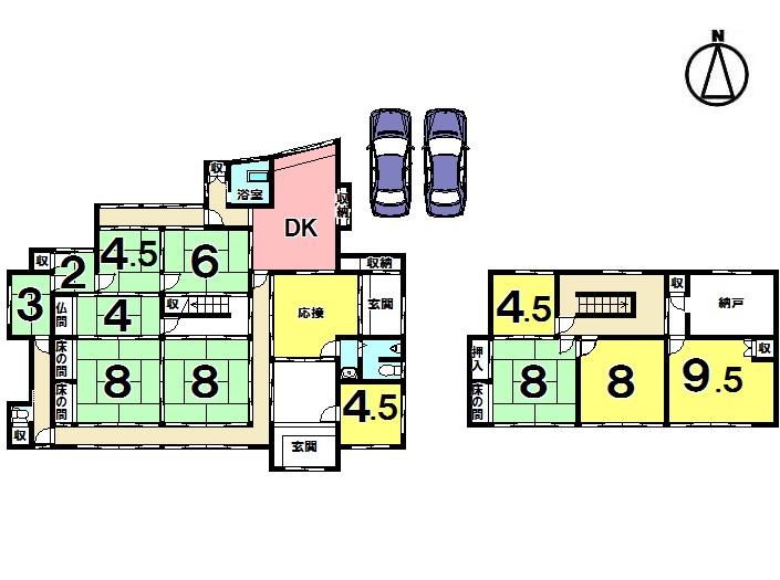 【間取り】 12DK 駐車2台可(屋根付き)