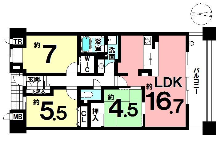 【間取り】 専有面積 71.65㎡ 3LDK 最上階のお部屋です!!