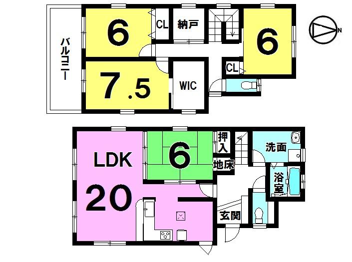 【間取り】 4LDK+WIC+納戸 駐車3台可(カーポート付き)