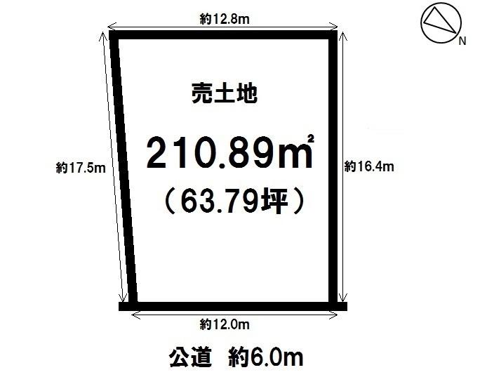 【区画図】 知多市にしの台 売土地 敷地面積:63.79坪。
