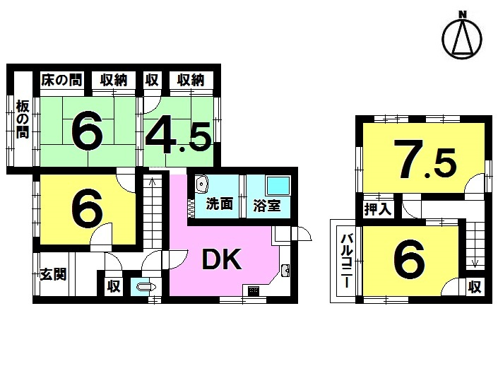 【間取り】 5DK 駐車2台可 H28年3月リフォーム済