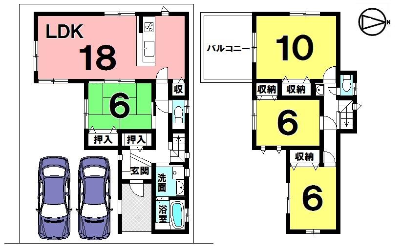 【間取り】 土地面積 43.56坪 建物面積 33.18坪 4LDK 普通車2台駐車可能