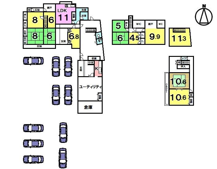 【間取り】 ・駐車6台可能 ・平成28年7月リフォーム済