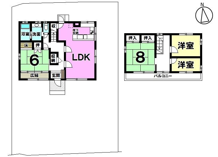 【間取り】 常滑市字中大流 中古戸建4LDK 土地面積 183.39坪 建物面積  34.5坪