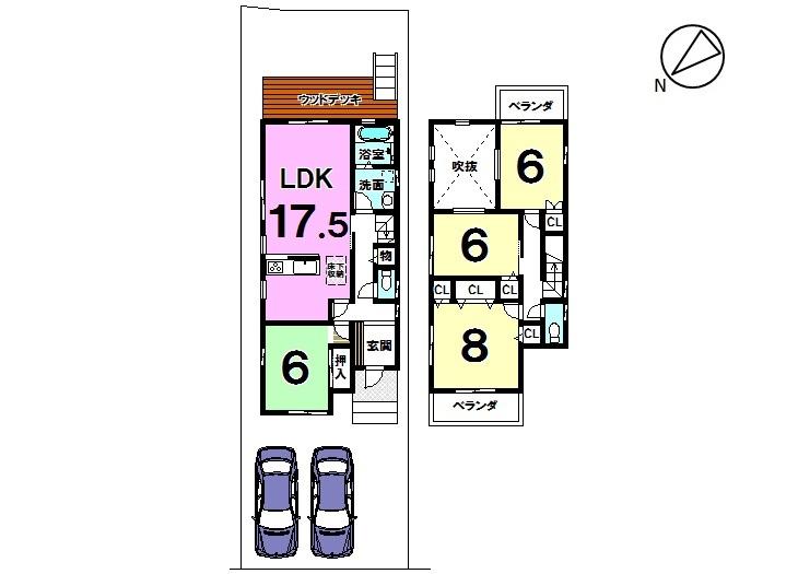 【間取り】 土地面積 48.4坪 建物面積 32.31坪 4LDK 普通車2台駐車可能