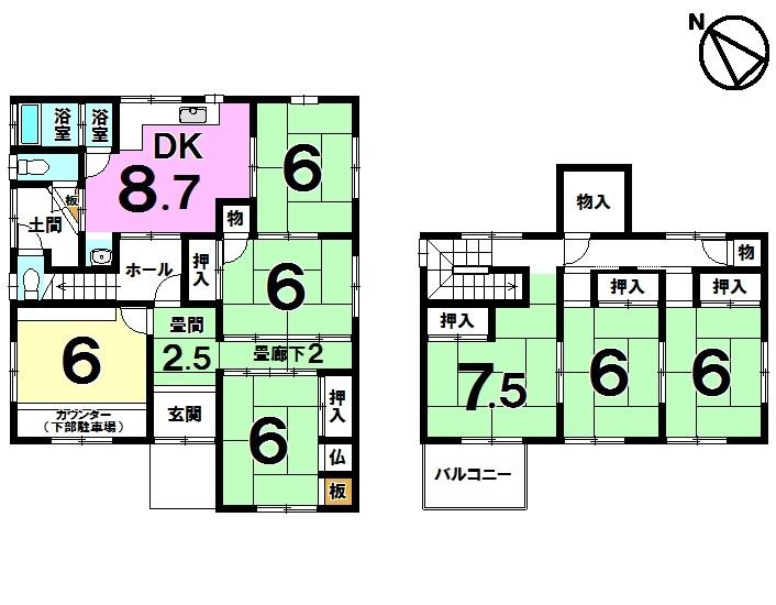【間取り】 JR草津駅徒歩19分・全居室6帖以上・7DK・フレンドマート志津東草津店徒歩9分(約720m)