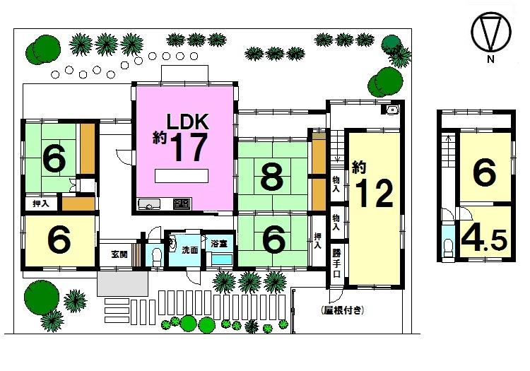 【間取り】 土地面積102.35坪。 南側に広いお庭のある大型住宅です。