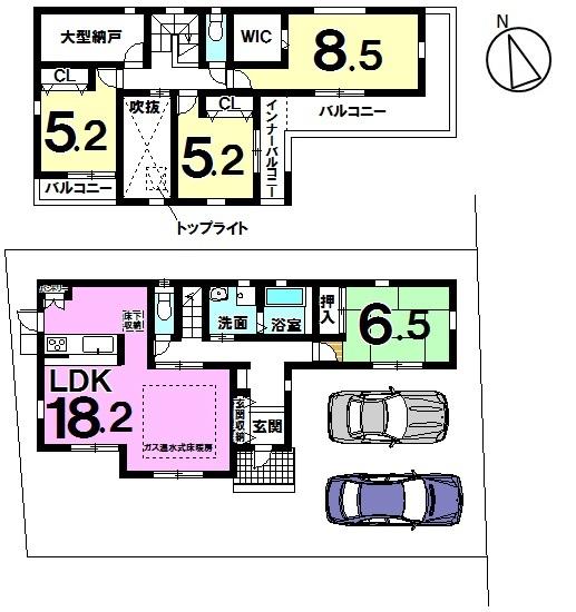 【間取り】 2780万円、4LDK、土地面積150.3㎡、建物面積111.8㎡ 間取り:4LDK