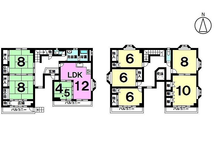 【間取り】 8LDK 駐車場3台 平成28年6月リフォーム済