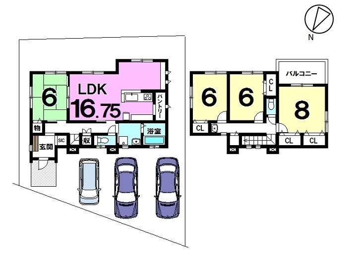 【間取り】 4号棟 土地面積 53.24坪 建物面積 32.81坪