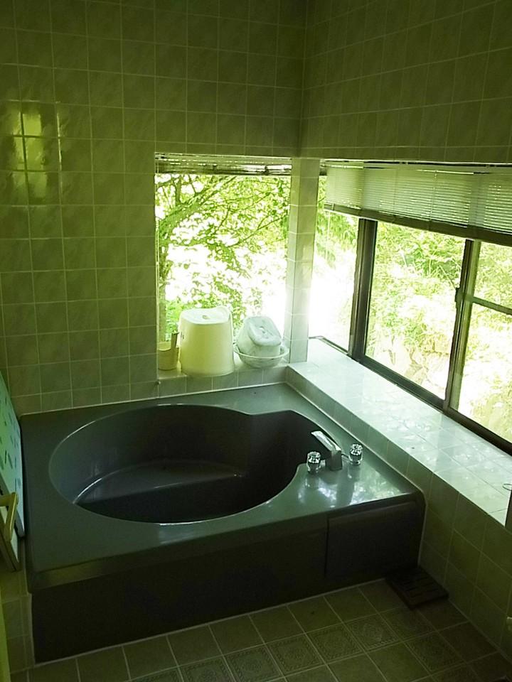 浴室から前面に流れる小川が見えます、