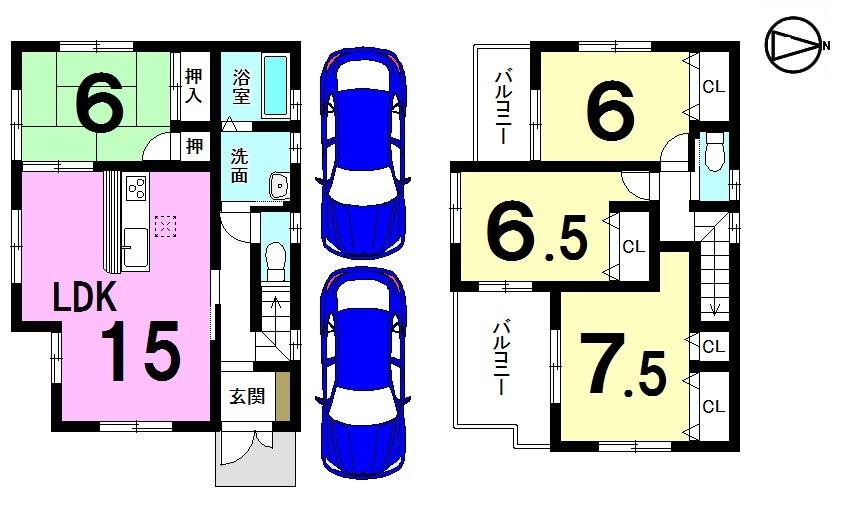 【間取り】 全居室南向き!! 駐車2台可能です。