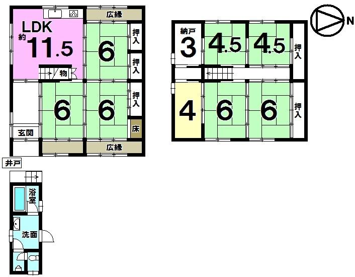 【間取り】 JR石山駅まで徒歩21分・8LDK+納戸(3帖)・フレンドタウン瀬田川まで徒歩2分(約150m)