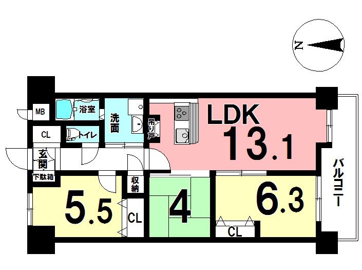【間取り】 3LDKの間取りは、業者によるリフォーム済み物件♪