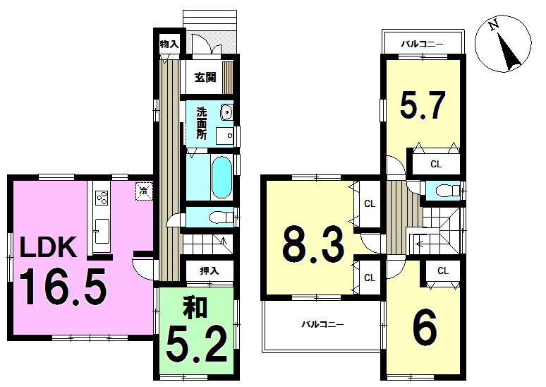 【間取り】 ●残り1棟です!●内覧できます!●4号地は、4棟のうち 2階はどのお部屋からもバルコニーへ行ける唯一の物件です!