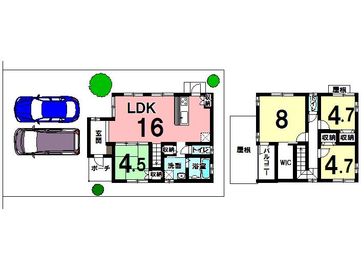 【間取り】 1階に和室があるので、来客時に便利です。 2階にあるクローゼットも2.3畳あるので、たくさん入りますね◎