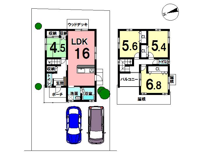 【間取り】 1階に和室があると来客時に重宝します。 2階の部屋はゆとりをもって設計されているので、のびのび過ごせそうですね。 バルコニーに屋根がついているのも主婦にとってはありがたいですね◎
