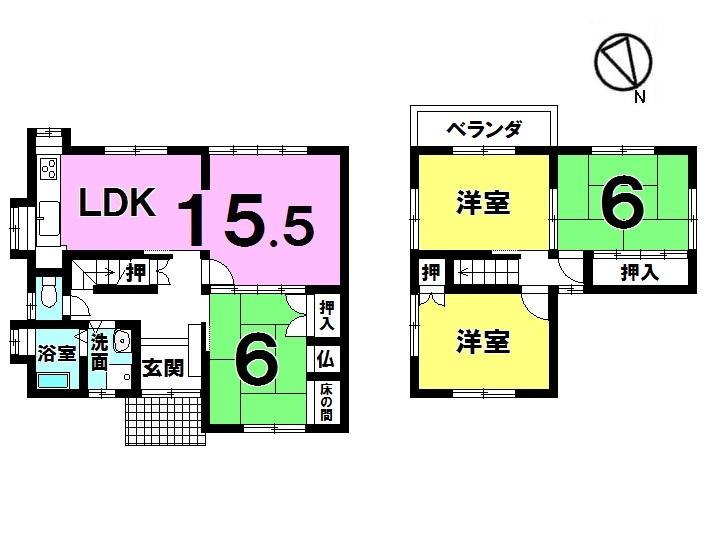 【間取り】 5DK 平成28年9月リフォーム済 駐車2台可