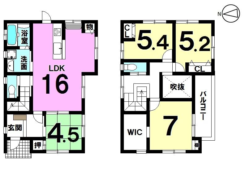 【間取り】 南向きバルコニーの明るい室内。 全居室に収納を設けておりますので お部屋を広々とお使い頂けます。