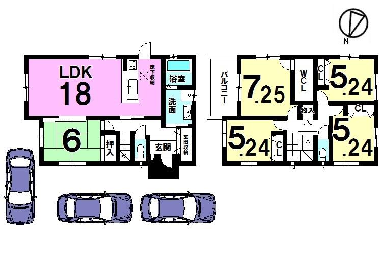 【間取り】 土地面積60.43坪! 5LDKでゆとりの暮らしを実現。 収納スペースも全居室に配置しております。