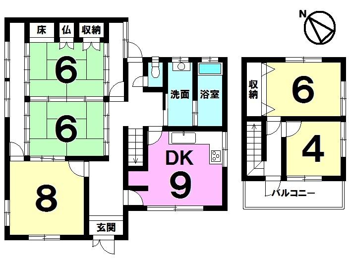 【間取り】 土地約137坪・5DK・丸善スーパー守山店まで徒歩14分(約1050m)