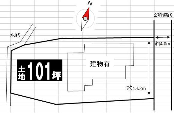 【区画図】 ◆売土地 約101.34坪◆北九州市小倉南区長野本町4丁目※建築条件なし古家つき◆ハウスドゥ葛原店◆