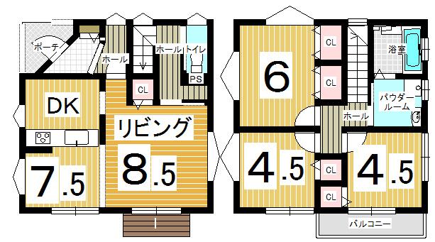 2階にパウダールーム&バスルームがあります。