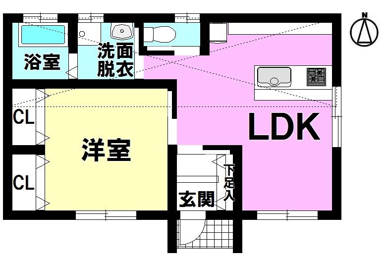 【間取り】 ・1LDK(全居室収納付き) ・駐車2台可