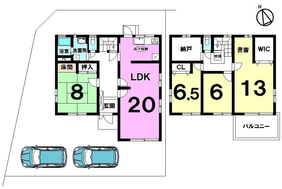 【間取り】 平成3年築 土地面積 59.88坪 建物面積 39.78坪 4SLDK