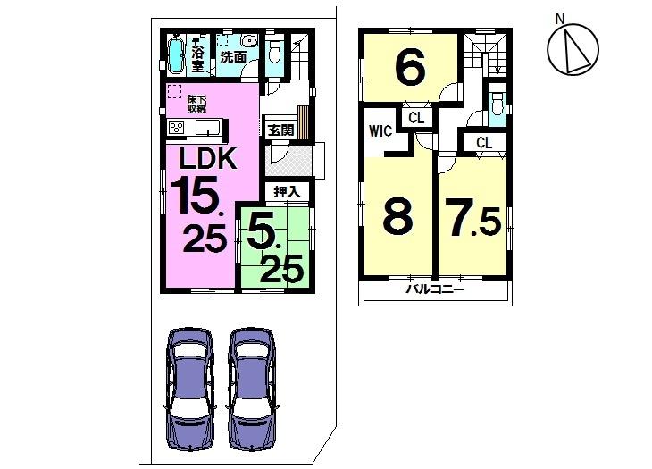 【間取り】 大草西畑 全3区画 1号棟 土地面積 36.88坪 建物面積 30.06坪 4LDK 駐車スペース2台分