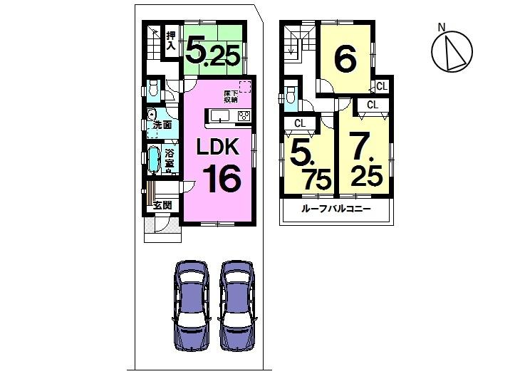【間取り】 大草西畑 全3区画 2号棟 土地面積 37.36坪 建物面積 30.18坪 4LDK 駐車スペース2台分