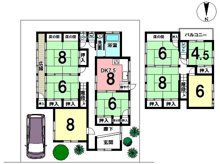 【区画図】 土地の区画図と現況の建物の間取り図です。8DKの古家付き、現況でのお引き渡しとなります。リノベーション物件としてもお勧めです!現地ご案内出来ますのでお気軽にお問い合わせ下さい。