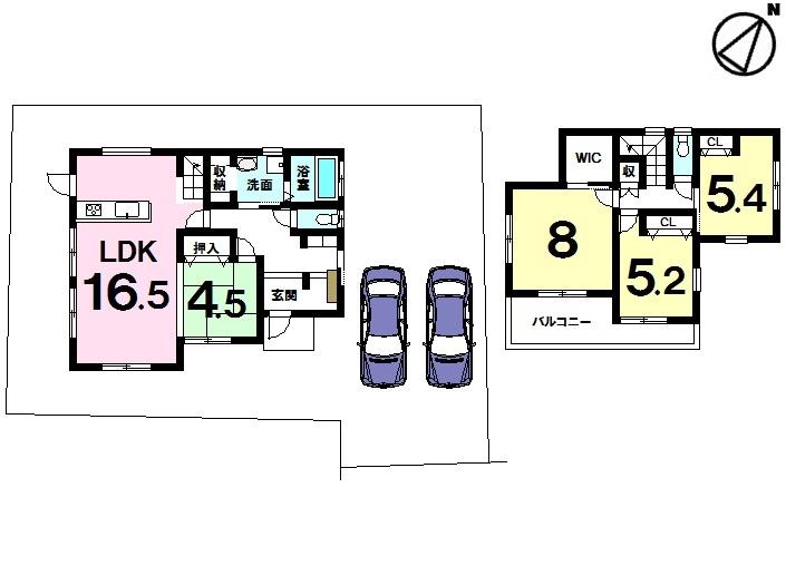 【間取り】 ■駐車2台可!■南東向きバルコニー!土地約61坪!ウォークインクローゼットあり!