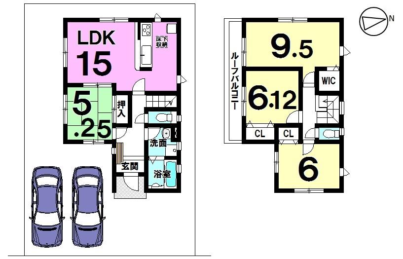 【間取り】 小倉町 新築戸建て 全5区画 2号棟  駐車スペース2台分 並列駐車可能です。
