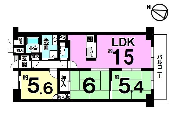 【間取り】 平成29年10月全面リフォーム済のお部屋です。 キッチン・浴室・トイレ新調、クロスや床の貼替ております。 新しく生まれ変わった室内を是非ご覧下さい。 即入居可能です。
