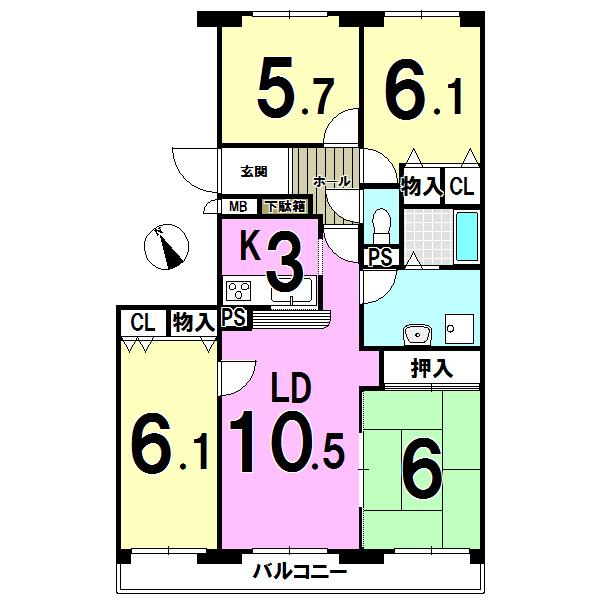 【間取り】 千歳市東郊の中古マンション「ピースオブマインド東郊」です。4LDK 対面キッチンあり、バルコニー南向きです。