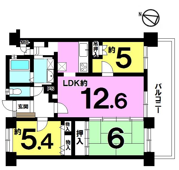 【間取り】 8階建て3階部分 3LDK