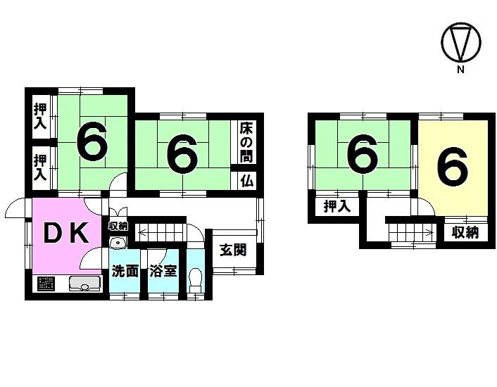 【間取り】 4DK 屋根付きガレージ(駐車1台)