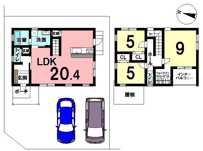 【間取り】 北西角地の新築です◎ 20.4畳のリビングは、狭さを感じることなく快適に毎日を過ごせそうですね^^