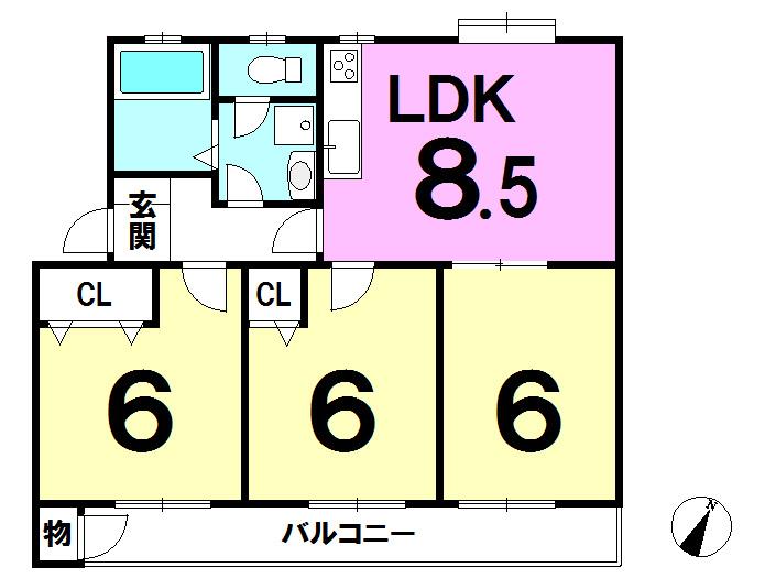 【間取り】 全居室6帖以上、全居室フローリング、バルコニー南向きにつき居室部分陽当り良好です♪