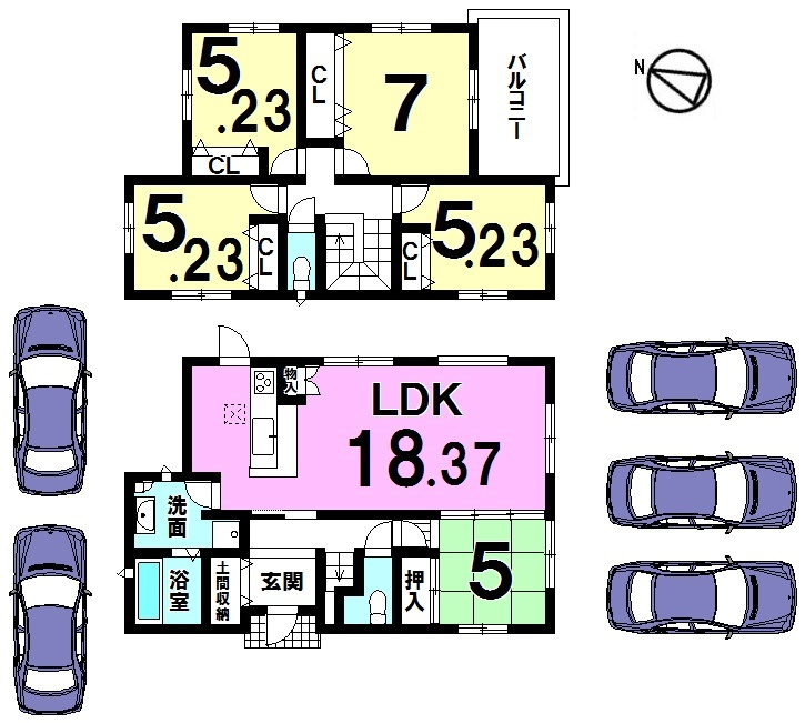 【間取り】 駐車5台可能!! 5LDKの広々とした間取りです。