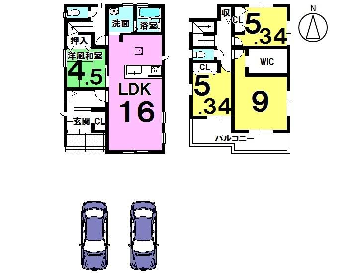 【間取り】 ・4LDK+WIC+SIC ・駐車2台可能 ・全居室収納付