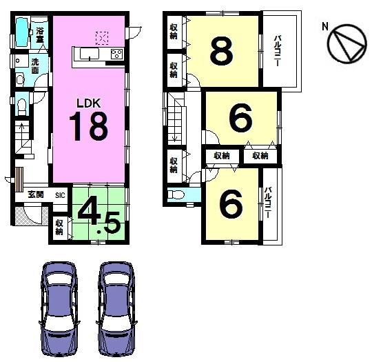 【間取り】 土地面積49.18坪。 並列で駐車2台可能です。